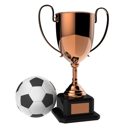 Soccer Copper award trophy isolated on white background Stock Photo - 13926975