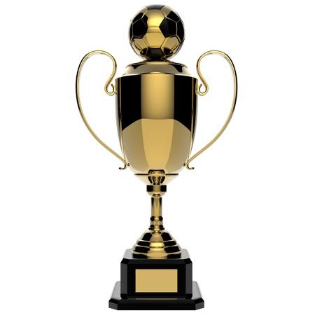 Soccer Golden award trophy isolated on white background