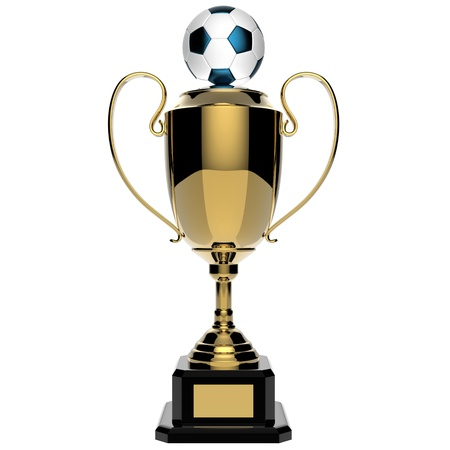 Soccer Golden award trophy isolated on white background photo