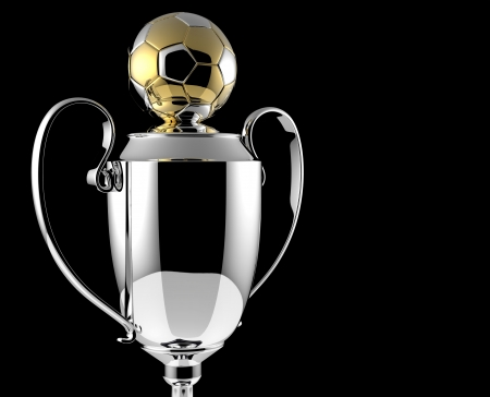 Soccer Golden award trophy on black background  photo