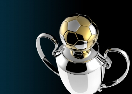 Soccer Golden award trophy on black background