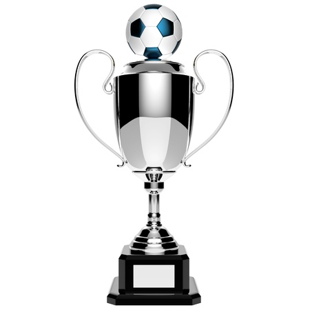 Soccer silver award trophy isolated on white background photo