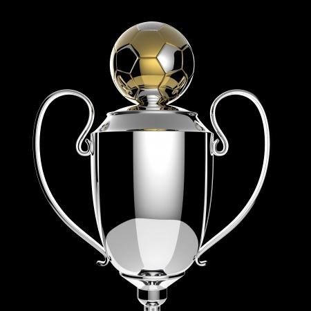 Soccer Golden award trophy on black background  photo