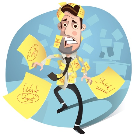 debt management: Business man having a stress  worried and Headache  Illustration