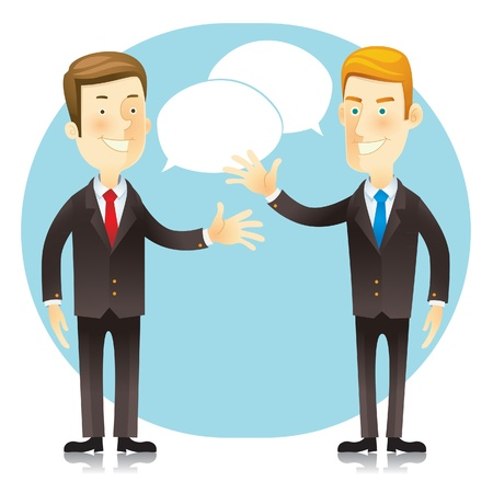 business meeting asian: Personnage de dessin anim� homme d'affaires Illustration
