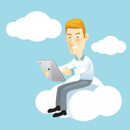 icloud: Business man using a tablet sitting on a cloud