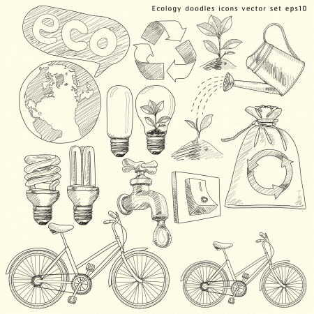 recycling plant: Ecology doodles icons illustration set