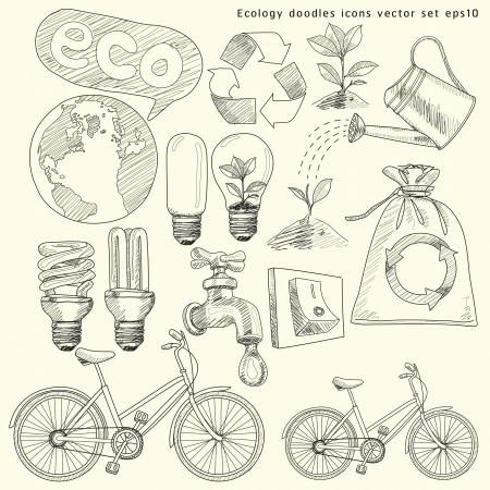 ciclo del agua: Garabatos Ecolog�a iconos conjunto ilustraci�n Vectores