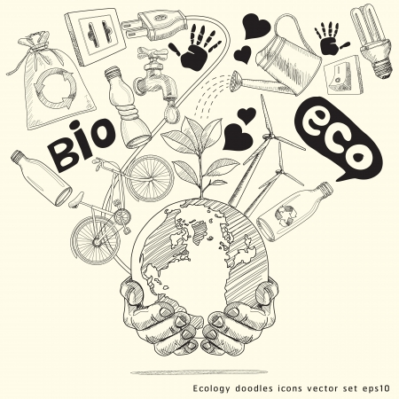 Green world concept  Tree on the earth in hands Ecology doodles icons illustration set Vector