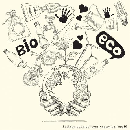 Verde concetto di Albero del Mondo sulla terra nelle mani di Ecologia doodles illustrazione set icone