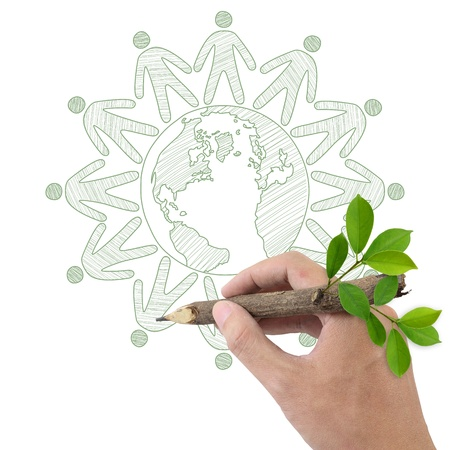 environment friendly: Male hand drawing people joined hands around the Earth  Stock Photo