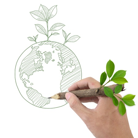 recycling plant: Male hand drawing Globe and Plant  Stock Photo