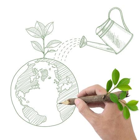 medio ambiente: Hombre Globo de dibujo a mano con la planta verde y regadera