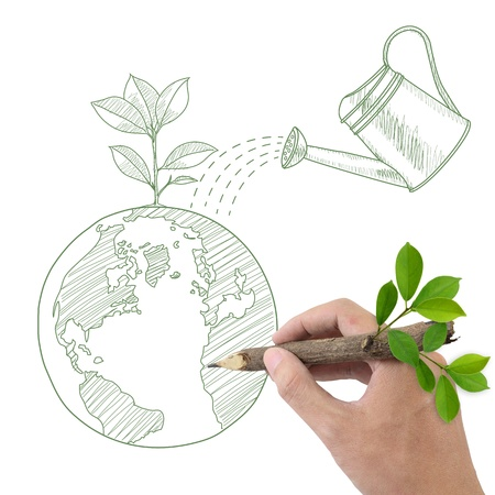 Male hand drawing Globe with green plant and watering can