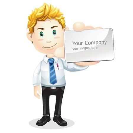 business: Uomo d'affari consegna una scheda vuota carattere commerciale Cartoon Vettoriali