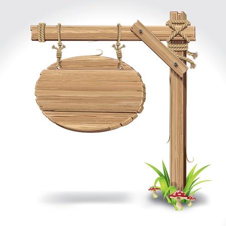 Tableros de madera con el cartel que cuelga en una cuerda de hierba y la ilustración de setas