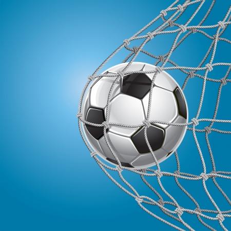 balon soccer: Fútbol Meta Un balón de fútbol en la red de una ilustración Vectores