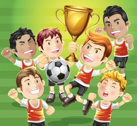 futbol soccer dibujos: Los niños de fútbol campeón de la historieta con el carácter de los ganadores de trofeos Vectores