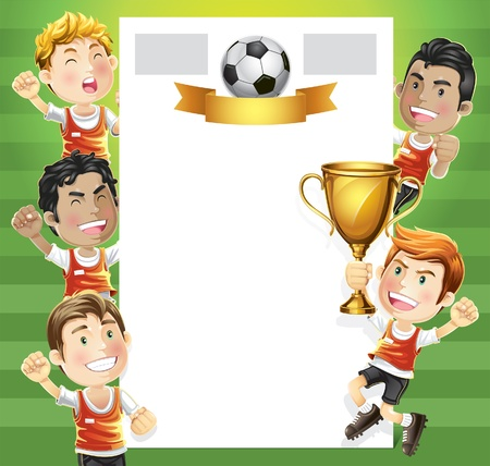 football kick: Children Soccer champion with winners trophy and scoreboard  cartoon character