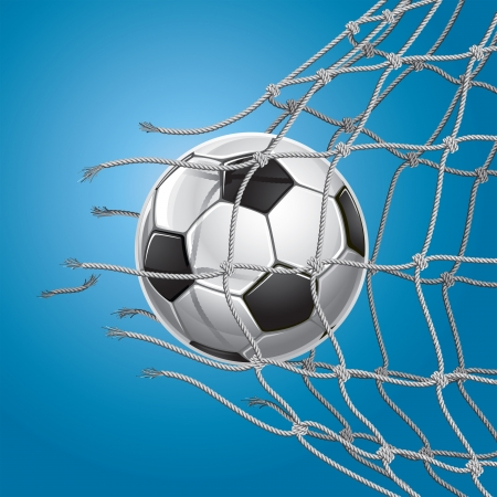 football play: Goal Calcio Pallone da calcio o di calcio rompere attraverso la rete della porta Vettoriali