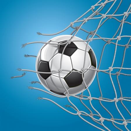 pelota de futbol: Meta del f�tbol bal�n de f�tbol o el f�tbol de �ltima hora a trav�s de la red de la porter�a