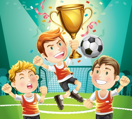 futbol soccer dibujos: Los niños de fútbol campeón con carácter de ganadores del trofeo deportivo de dibujos animados
