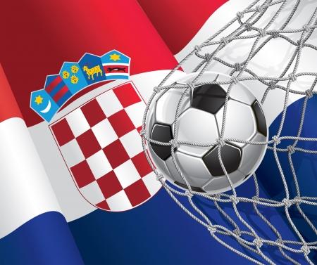 croatia flag: Soccer Goal  Croatia flag with a soccer ball in a net  Vector illustration