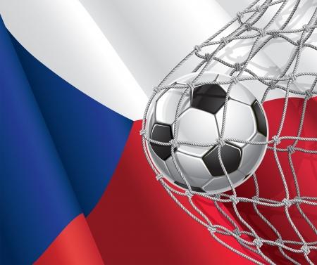 czech flag: Soccer Goal bandiera ceca con un pallone da calcio in un'illustrazione di rete Vettoriali