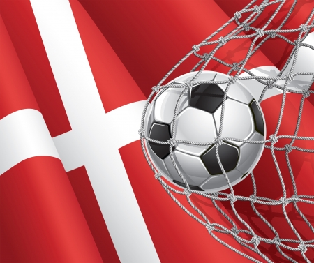 Soccer Goal  Denmark flag with a soccer ball in a net illustration Vector