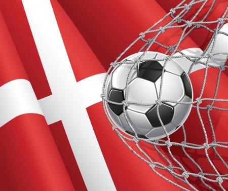 denmark flag: Soccer Goal  Denmark flag with a soccer ball in a net illustration