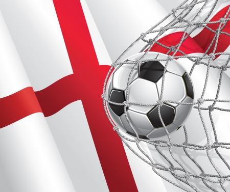 drapeau anglais: Drapeau Soccer Goal anglais avec un ballon de soccer dans une illustration nette