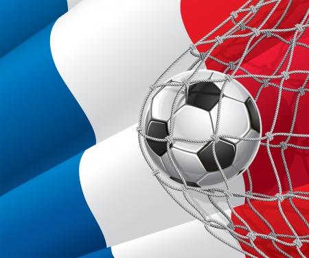 frances: Fútbol bandera de meta francés con un balón de fútbol en la red de una ilustración Vectores