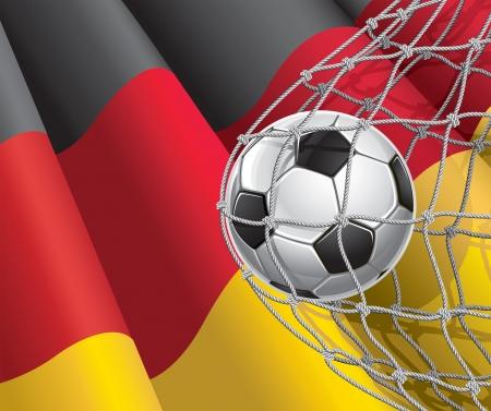 bandera alemania: F�tbol bandera de meta alem�n con un bal�n de f�tbol en la red de una ilustraci�n
