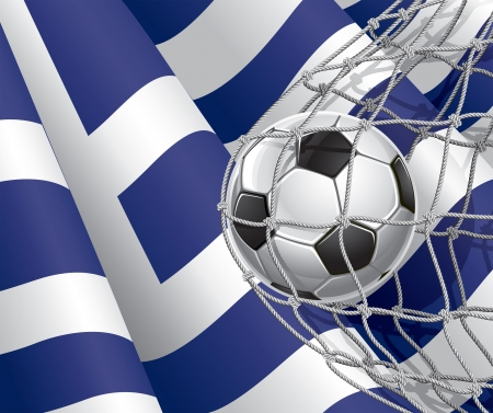 Soccer Goal  Greek flag with a soccer ball in a net illustration Vector