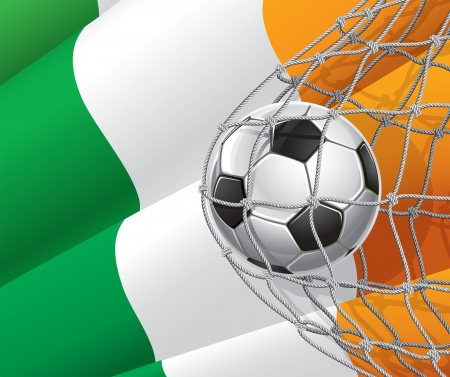 Soccer Goal  Irish flag with a soccer ball in a net illustration Vector