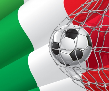 Soccer Goal  Italian flag with a soccer ball in a net illustration Vector