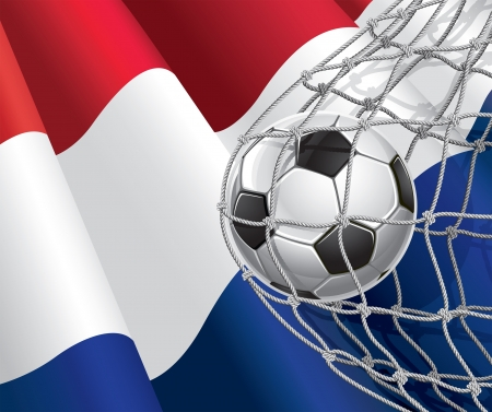 netherlandish: Soccer Goal  Netherlandish flag with a soccer ball in a net  illustration