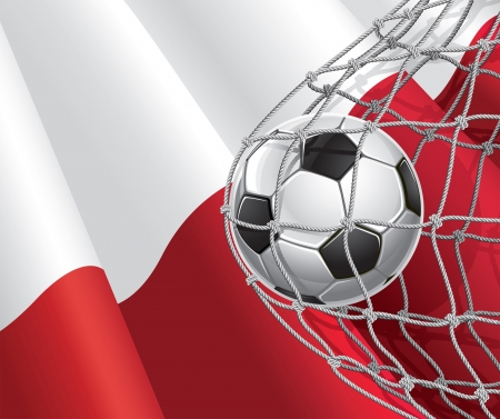 bandera de polonia: Fútbol bandera de meta polaco con una pelota de fútbol en la red de una ilustración