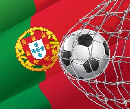 bandera de portugal: Meta del f�tbol portugu�s de la bandera con una pelota de f�tbol en una ilustraci�n vectorial neta