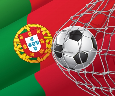 Soccer Goal  Portuguese flag with a soccer ball in a net  Vector illustration Vector