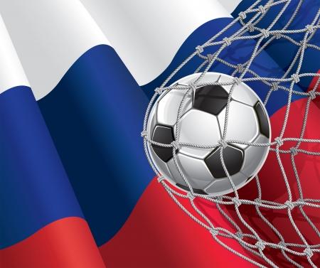 bandera de polonia: F�tbol bandera de meta ruso con un bal�n de f�tbol en la red de una ilustraci�n