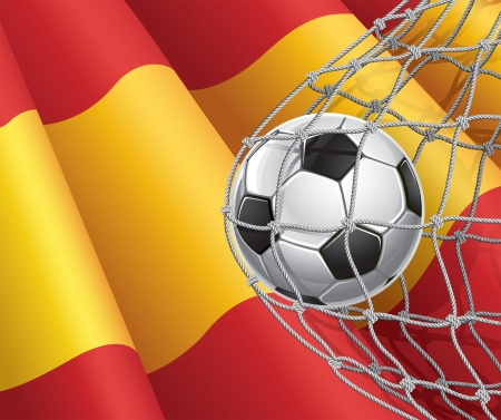 Soccer Goal  Spanish flag with a soccer ball in a net illustration Vector