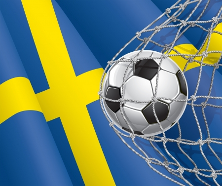 Soccer Goal  Swedish flag with a soccer ball in a net illustration Vector
