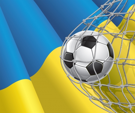 Soccer Goal  Ukrainian flag with a soccer ball in a net  illustration Vector