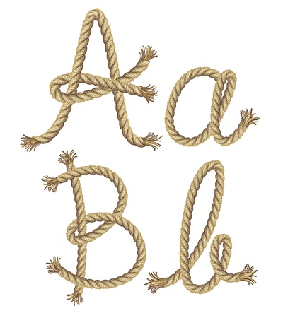 typeset: Rope alphabet  vector illustration