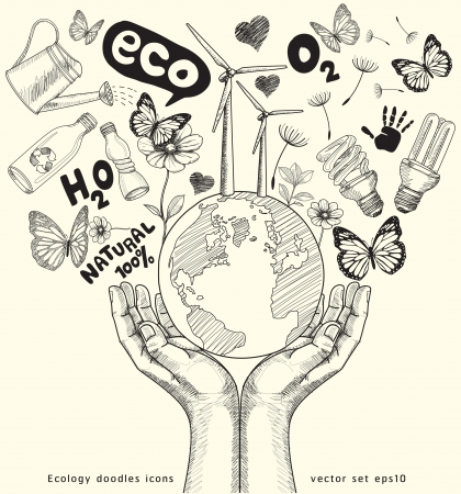the natural world: Green world concept  Tree on the earth in hands   Ecology doodles icons vector set