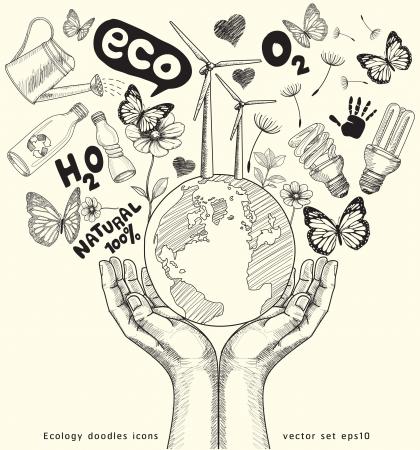 ciclo del agua: Mundo verde árbol de conceptos sobre la tierra en manos de Ecología garabatos conjunto de vectores iconos Vectores