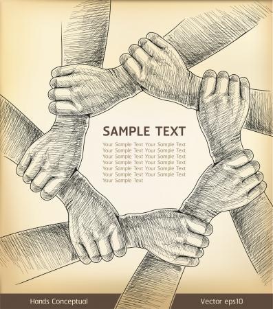 multirracial: M�os conceitual ilustra��o vetorial Ilustração