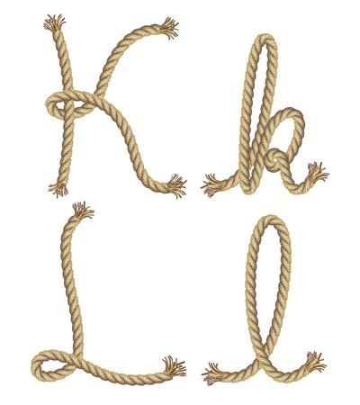 ransom: Rope alphabet  vector illustration