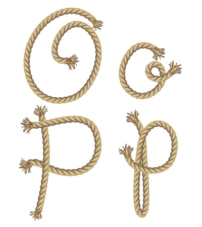 rope vector: Rope alphabet  vector illustration